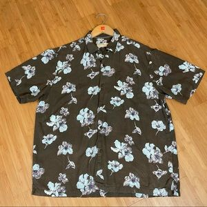 Tommy Bahama Silk Brown Floral Button Down Shirt